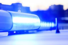 Police. Ambulance. flasher blue. close-up. there is toning. Police. Ambulance. flasher blue. close-up there is toning stock image