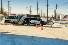 Police and ambulance on roaad accident scene Royalty Free Stock Images
