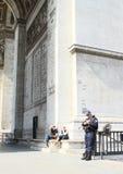 Police on Arc de Triomphe Royalty Free Stock Photo
