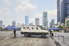 Police and armed forces on the Tianfu Square. Chengdu, China - September 29, 2017: Police and armed forces on the Tianfu Square, the largest city square in royalty free stock photo