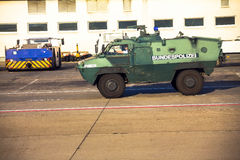 Police armored  protection vehicle in International Frankfurt Airport, the busiest airport of Germany Royalty Free Stock Images