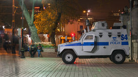 Police armored vehicle on night street of Istanbul Stock Photography