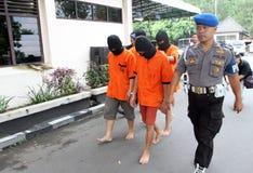 Police arrested drug dealer. Police arrest drug dealers in the city of Solo, Central Java, Indonesia Stock Image