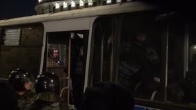 Police arrested protesters were released on Manezhnaya square in support of Alexei Navalny stock video footage