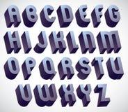 police audacieuse et grande de 3d, alphabet dimensionnel monochrome fait avec illustration de vecteur