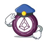 Police Augur coin character cartoon. Vector illustration Royalty Free Stock Image