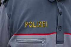 Police, austria, officer, police badge,writing, logo, federal po. Emblem of the austria federal police stock photos
