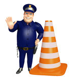 Police avec le cône de construction Photo libre de droits