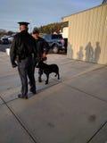Police avec le chien de garde à l'événement présidentiel Photo libre de droits