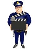 Police avec le panneau de clapet Photos stock