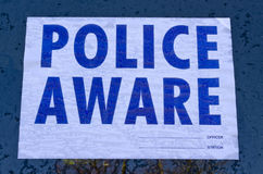 Police aware sign Royalty Free Stock Photo