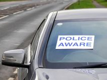 Police aware sign in window of vehicle involved in car crash royalty free stock photo