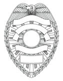 Police Badge Blank. Is an illustration of a police or law enforcement badge with open space for your specific text such as location, badge number, etc Royalty Free Stock Photo