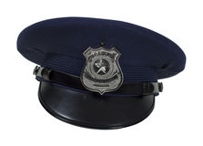 Police Badge Cap. Silver special police badge with a star on a large cap - path included royalty free stock images