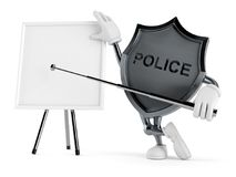 Police badge character with blank whiteboard. Isolated on white background. 3d illustration Royalty Free Stock Photos