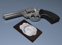 Police badge and gun Stock Photography