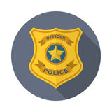 Police badge icon. Police badge in flat style with long shadow, isolated web icon stock illustration