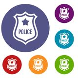 Police Badge Icons Set Royalty Free Stock Images