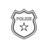 Police badge outline icon. Linear vector illustration Stock Image