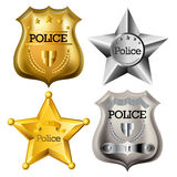 Police badge set. Gold and silver Police badge set isolated Royalty Free Stock Photos