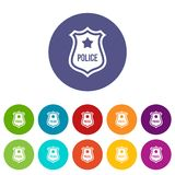 Police badge set icons. In different colors isolated on white background Royalty Free Stock Photography
