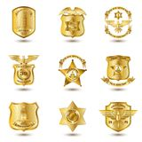 Police Badges Gold Royalty Free Stock Photo