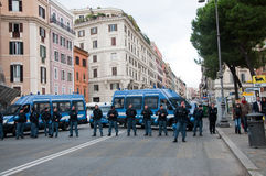 Police barrier in Rome, Italy Royalty Free Stock Photos