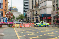 Police barrier at the street Royalty Free Stock Image