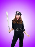 Police with bat against the gradient Stock Photos