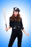Police with bat  Royalty Free Stock Image