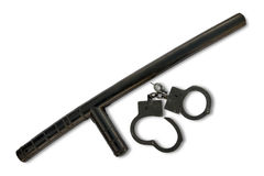 Police baton with handcuffs Royalty Free Stock Image