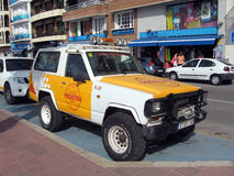 Police beach protection car lloret De Mar Royalty Free Stock Photo