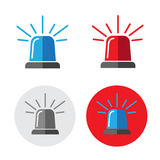 Police beacon icon set Royalty Free Stock Images
