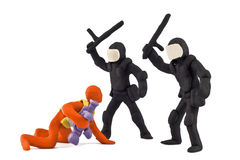 Police beat reporter stuck together from plasticine Stock Photos