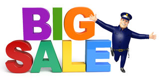 Police with Big sale sign. 3d rendered illustration of Police with Big sale sign Stock Images