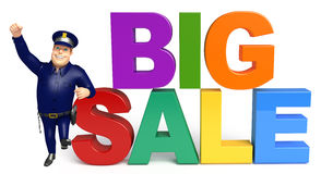 Police with Big sale sign. 3d rendered illustration of Police with Big sale sign Royalty Free Stock Image