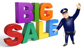 Police with Big sale sign. 3d rendered illustration of Police with Big sale sign Royalty Free Stock Photos