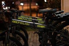 Police bike. Anti polution police Royalty Free Stock Photos