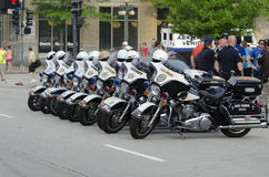 Police bikes. Police attendance at the May 19th 2013 Peoria IL 1st Marathon Royalty Free Stock Image