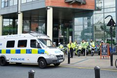 Police bikes mobilized before a protest. June 8, 2013 - Police mobilized for English Defence League and United Against Fascism protest, Sheffield, UK Stock Photos