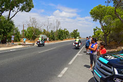 Police Bikes Pass Team Sky Car La Vuelta España. The police riders clear the road ahead of the peleton in La Vuelta España stage 9 2017 Stock Photography