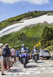 Police Bikes of  Tour of France. Port de Pailheres,France- July 06 2013:Group of Police's bikes driving on the road to Col de Pailheres in Pyrenees Mountains Stock Photo