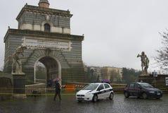 Police block Ponte Milvio Stock Image
