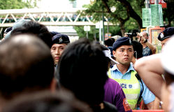 Police Blocking Protesters in Hong Kong Royalty Free Stock Photo