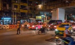 Police Blocking Sukhumvit Road Stock Images