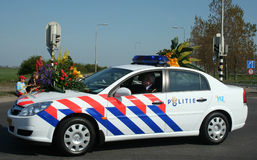 Police at bloemencorso Bollenstreek is one of the flower parades in the Netherlands. Royalty Free Stock Images