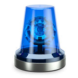 Police blue siren. Isolated on white background 3d Stock Photography