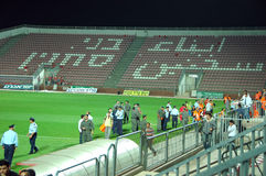 Police in Bnei Sakhnin empty stadium Royalty Free Stock Photo