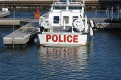 Police Boat. Spotted in Chicago Stock Photos