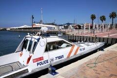 Police boat. ASHKELON, ISRAEL - AUGUST 08, 2013: Police boat near the coast of Ashkelon Stock Images